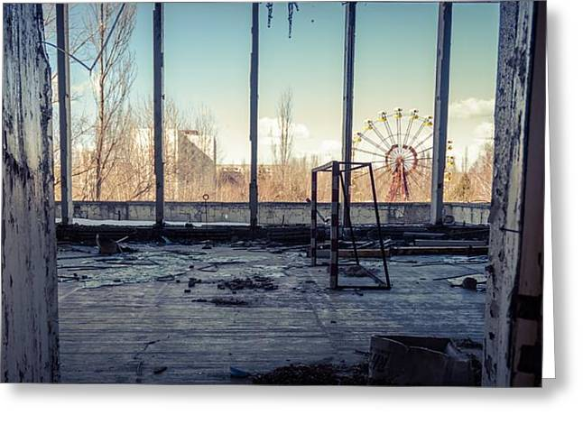Power Plants Pyrography Greeting Cards - Abandoned room in chernobyl 2012 Greeting Card by Oliver Sved