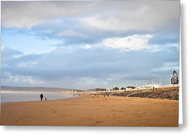 Jogging Photographs Greeting Cards - Aberafan Beach Greeting Card by Tom Gowanlock