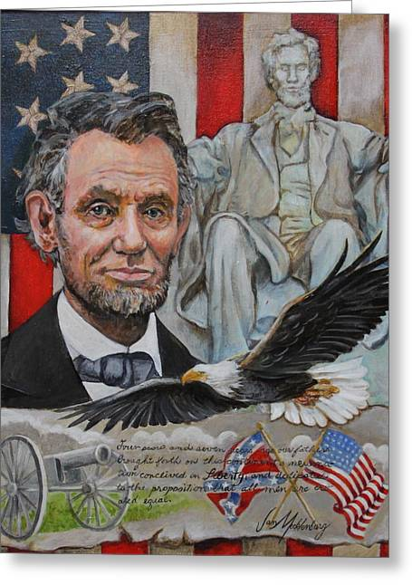 Confederate Flag Greeting Cards - Abe Lincoln  Greeting Card by Jan Mecklenburg