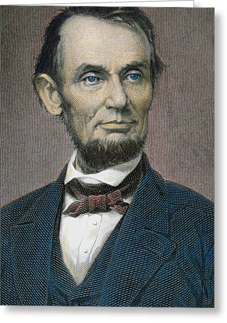 Assassinated Drawings Greeting Cards - Abraham Lincoln Greeting Card by American School