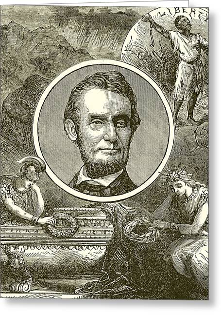 Abolitionist Greeting Cards - Abraham Lincoln Greeting Card by English School