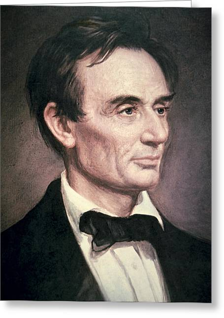 Abolitionist Paintings Greeting Cards - Abraham Lincoln Greeting Card by George Peter Alexander Healy