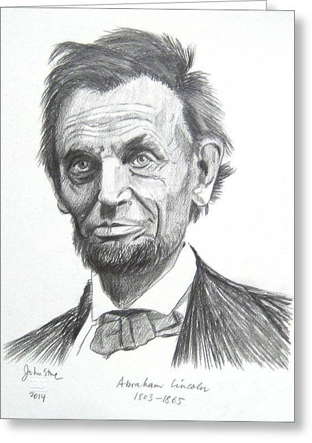 Slavery Paintings Greeting Cards - Abraham Lincoln Greeting Card by Ray Johnstone