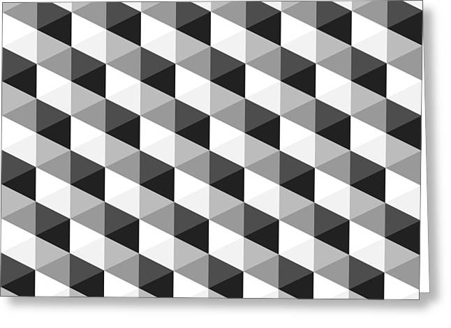 Geometric Shape Greeting Cards - Abstract Monochrome Geometric Pattern Greeting Card by Atthamee Ni