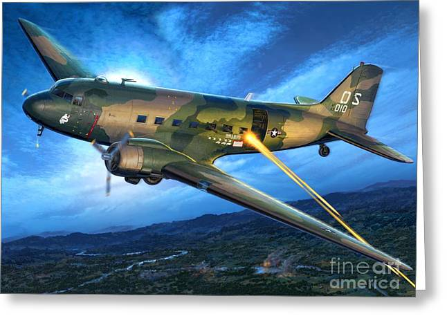 Propeller Greeting Cards - AC-47 Spooky Greeting Card by Stu Shepherd