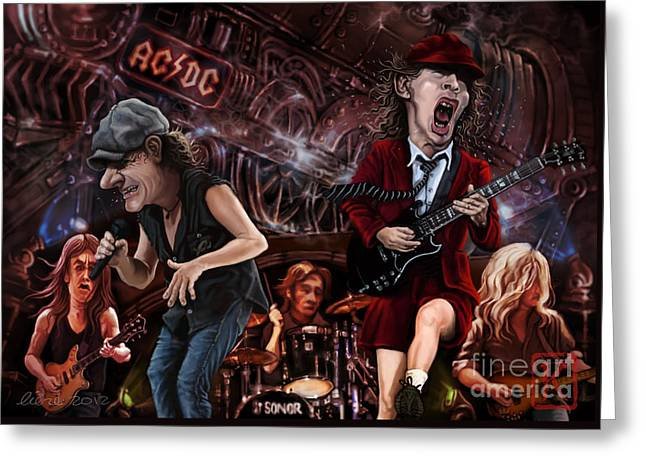 Caricatures Greeting Cards - Ac/dc Greeting Card by Andre Koekemoer