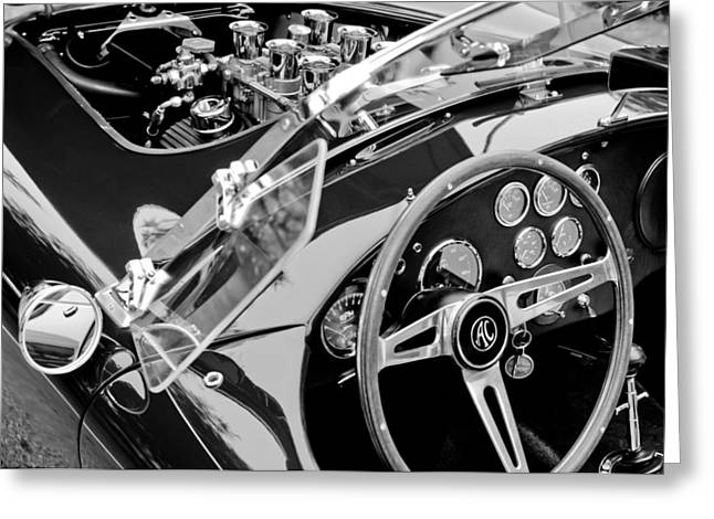 American Automobiles Greeting Cards - AC Shelby Cobra Engine - Steering Wheel Greeting Card by Jill Reger
