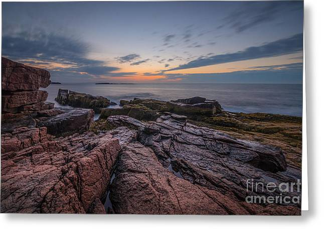 Ver Sprill Photographs Greeting Cards - Acadia Rocky Sunrise Greeting Card by Michael Ver Sprill