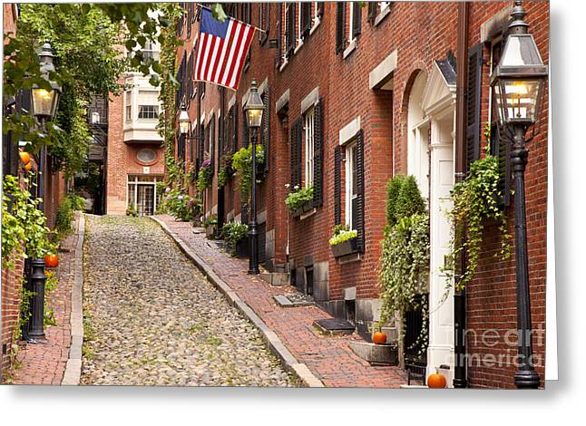 Acorns Greeting Cards - Acorn Street Boston Greeting Card by Brian Jannsen