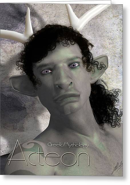 Transformations Mixed Media Greeting Cards - Actaeon greek by Quim Abella Greeting Card by Joaquin Abella