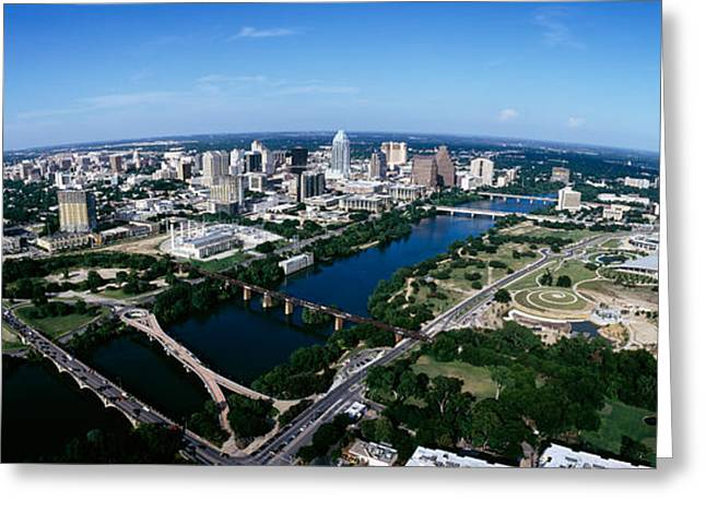 Austin Building Greeting Cards - Aerial View Of A City, Austin, Travis Greeting Card by Panoramic Images