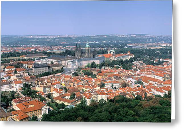 Hradcany Greeting Cards - Aerial View Of A City, Prague, Czech Greeting Card by Panoramic Images