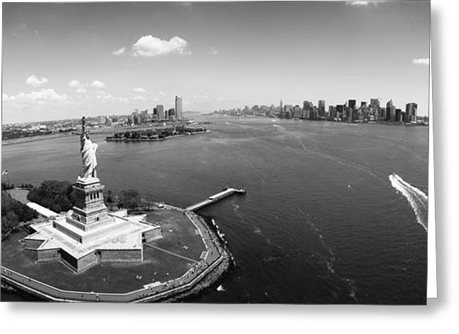 Female Likeness Greeting Cards - Aerial View Of A Statue, Statue Greeting Card by Panoramic Images