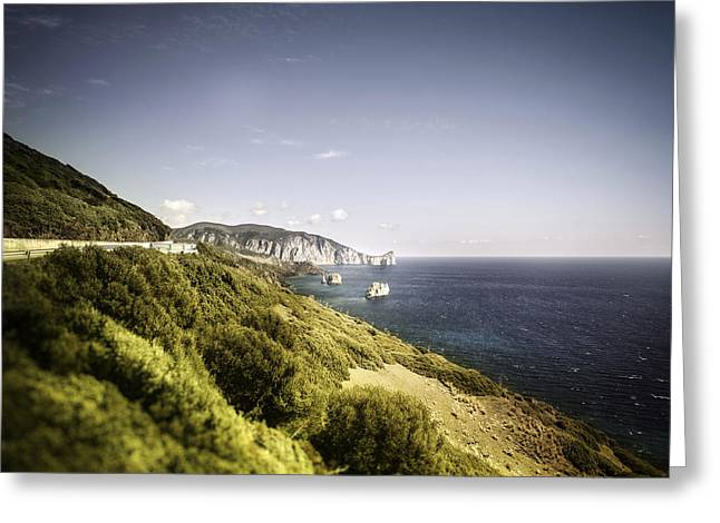 Water Over Rock Greeting Cards - Aerial View Of Sea And Mountains Greeting Card by Evgeny Kuklev