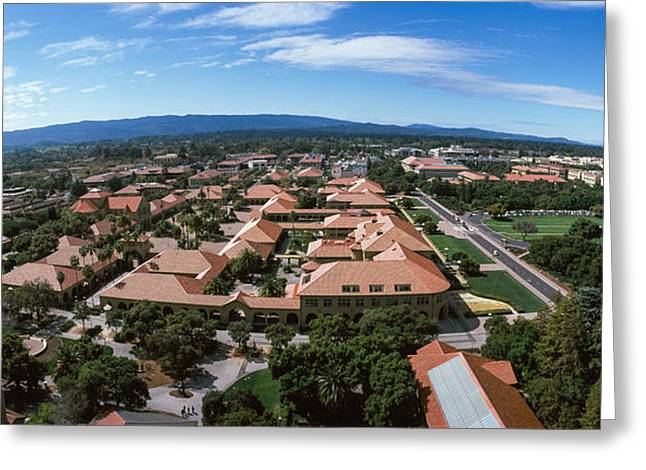 Fish Eye Lens Greeting Cards - Aerial View Of Stanford University Greeting Card by Panoramic Images