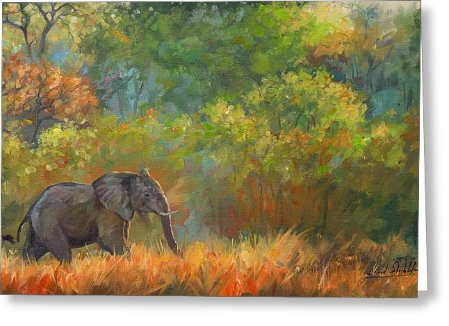 Wildlife Art Prints Greeting Cards - African Elephant Greeting Card by David Stribbling