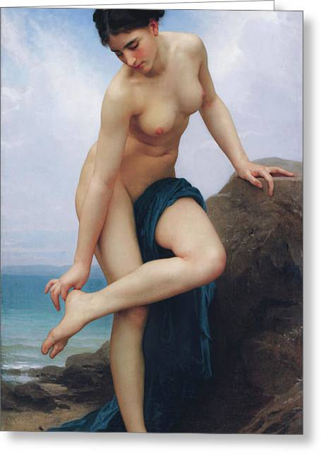 Academic Nudes Greeting Cards - After the Bath Greeting Card by William-Adolphe Bouguereau
