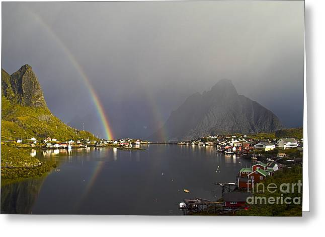 Norway Village Greeting Cards - After the rain in Reine Greeting Card by Heiko Koehrer-Wagner