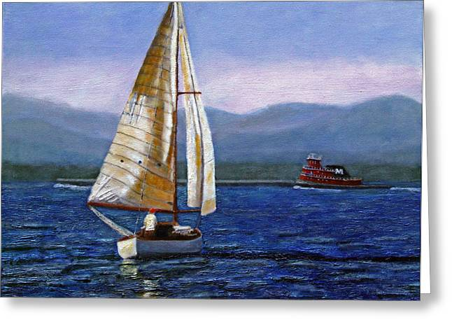Hudson River Tugboat Greeting Cards - Afternoon on the Hudson Greeting Card by Mark Hunter