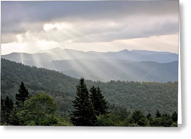 God Beams Greeting Cards - Afternoon on the Mountain Greeting Card by Rob Travis