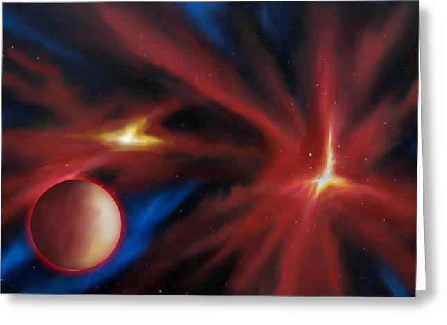 Starship Paintings Greeting Cards - Agamnenon Nebula Greeting Card by James Christopher Hill