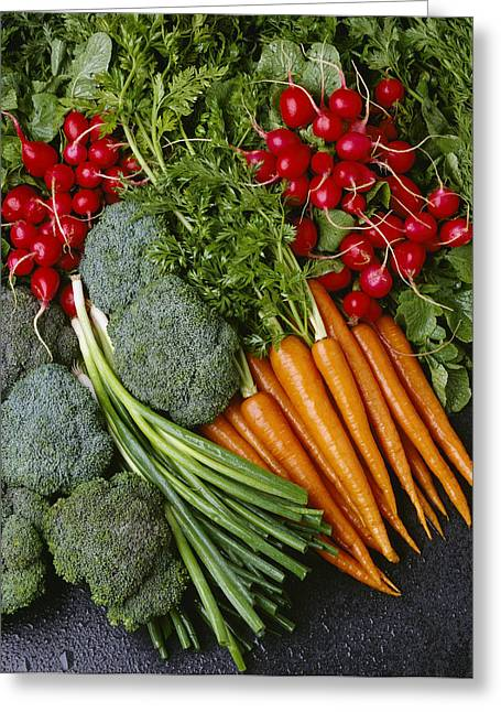 Broccoli Greeting Cards - Agriculture - Mixed Vegetables Greeting Card by Ed Young
