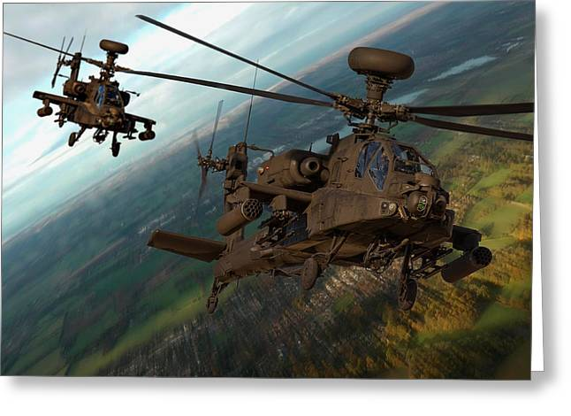 Recently Sold -  - Princes Greeting Cards - 2 AH64 Apache Greeting Card by Ken Brannen