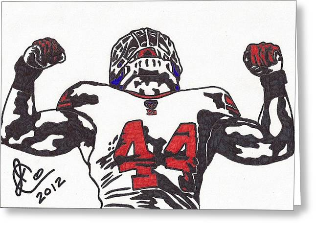 Player Drawings Greeting Cards - Ahmad Bradshaw Greeting Card by Jeremiah Colley