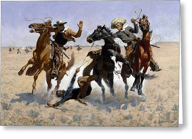 Remington Greeting Cards - Aiding a Comrade Greeting Card by Frederic Remington