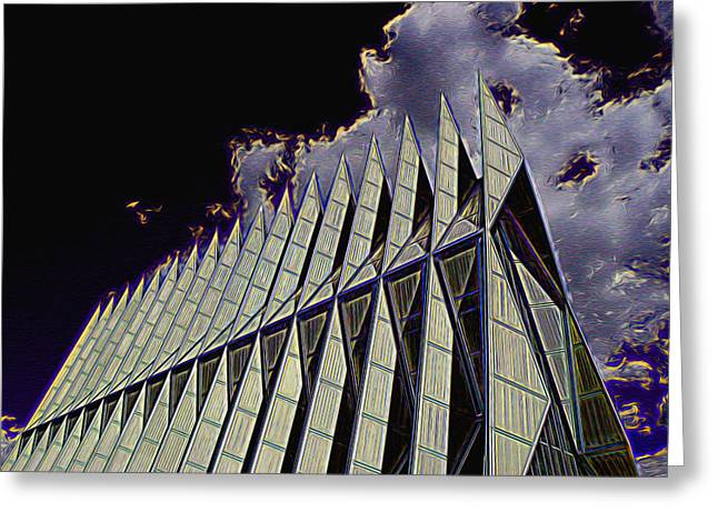 Award Winning Art Greeting Cards - Air Force Academy Chapel Greeting Card by Allen Beatty
