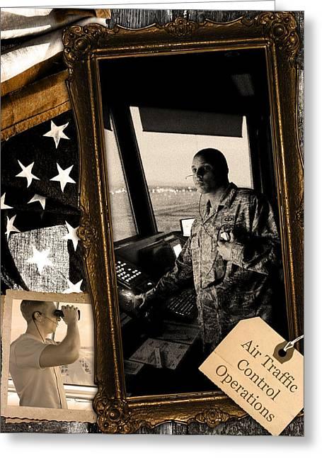 Traffic Control Digital Art Greeting Cards - Air Traffic Control --- Vintage 1 Greeting Card by Reggie Saunders