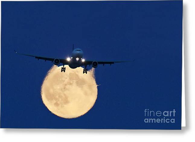 Airbus Greeting Cards - Airbus 330 Passing In Front Of The Moon Greeting Card by David Nunuk