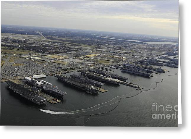 Enterprise Greeting Cards - Aircraft Carriers In Port At Naval Greeting Card by Stocktrek Images