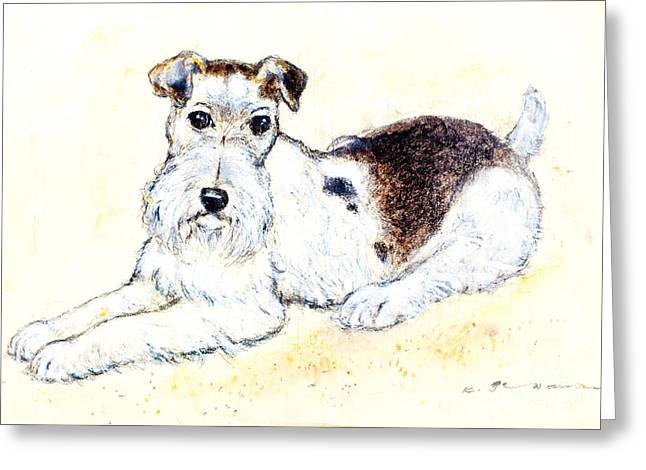 Terrier Pastels Greeting Cards - Airedale terrier Greeting Card by Kurt Tessmann