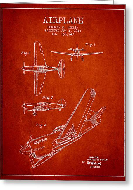 Airplane Digital Art Greeting Cards - Airplane patent Drawing from 1943 Greeting Card by Aged Pixel