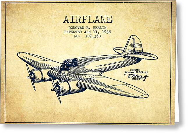 Airplane Greeting Cards - Airplane patent Drawing from 1943-Vintage Greeting Card by Aged Pixel