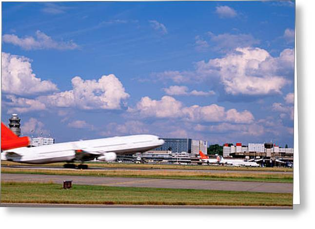 Zurich Greeting Cards - Airplane Taking Off, Zurich Airport Greeting Card by Panoramic Images