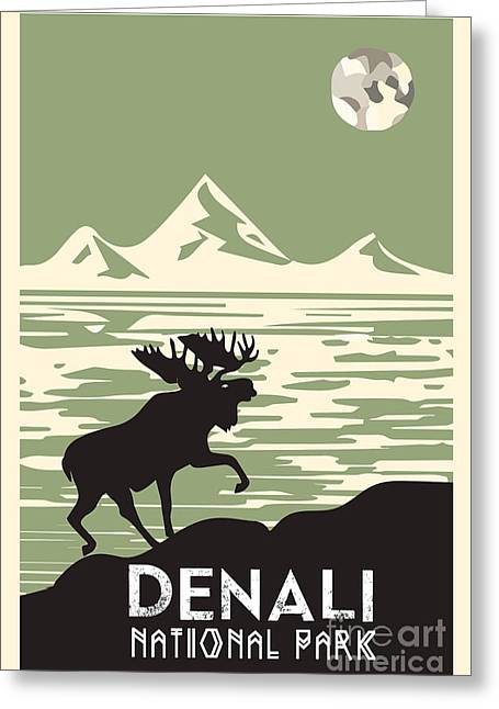 National Parks Mixed Media Greeting Cards - Alaska Denali National Park Poster Greeting Card by Celestial Images