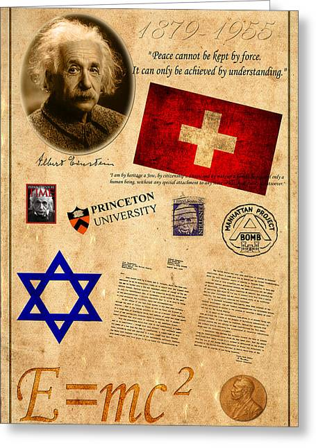 Swiss Flag Greeting Cards - Albert Einstein Greeting Card by Andrew Fare