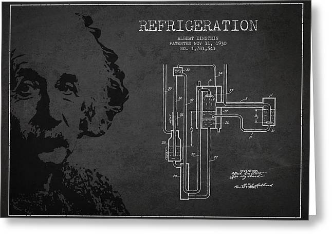Albert Einstein Greeting Cards - Albert Einstein Patent Drawing from 1930 Greeting Card by Aged Pixel