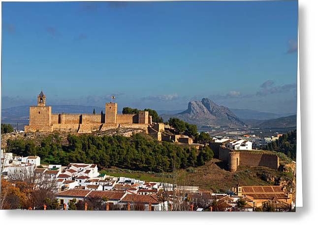 Alcazaba Castle In Antequera, Malaga Greeting Card by Panoramic Images