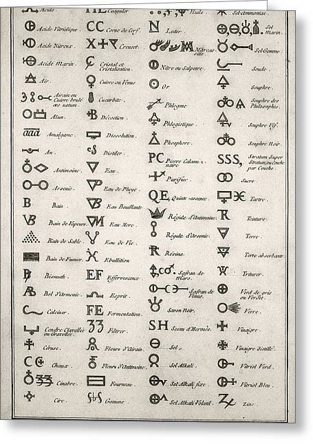 French Language Greeting Cards - Alchemical symbols, 18th century Greeting Card by Science Photo Library