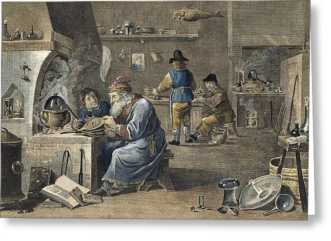 Alchemist At Work, 18th Century Greeting Card by Science Photo Library