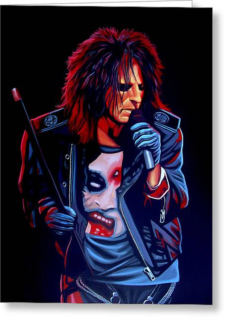 Nightmares Greeting Cards - Alice Cooper  Greeting Card by Paul  Meijering