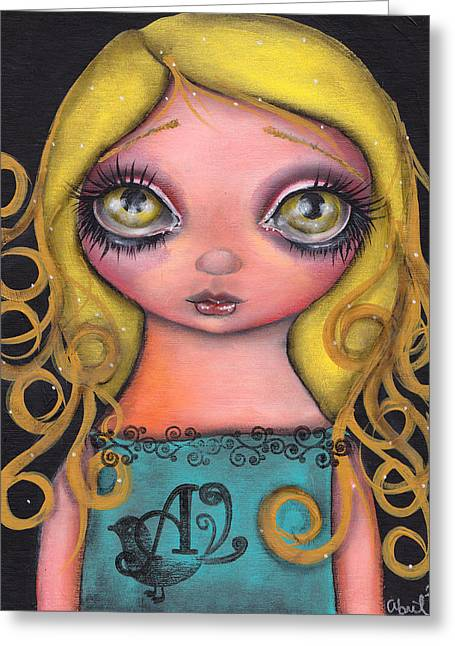 Outsider Art Paintings Greeting Cards - Alicia Greeting Card by  Abril Andrade Griffith