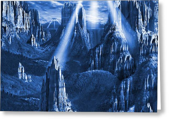 Spacecraft Greeting Cards - Alien Planet in Blue Greeting Card by Mike McGlothlen