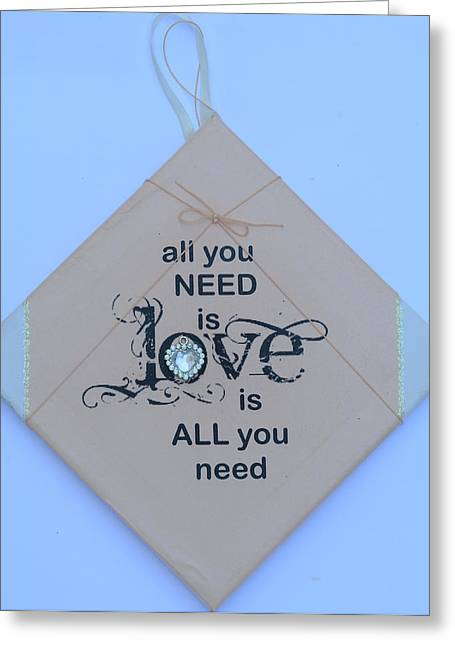 The Beatles All You Need Is Love Greeting Cards - All you need is love Greeting Card by Catt Kyriacou