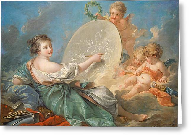 Utopia Greeting Cards - Allegory of Painting Greeting Card by Francois Boucher