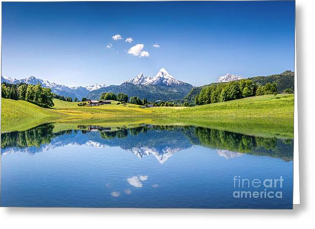 Mountain Reflection Lake Summit Mirror Greeting Cards - Alpine Summer Greeting Card by JR Photography
