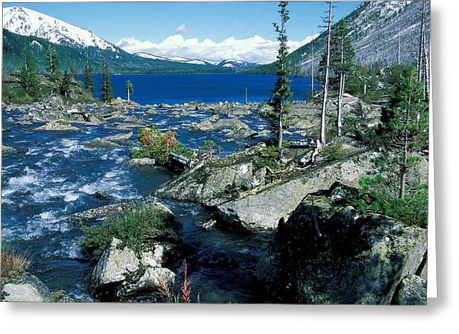 Blue Green Water Greeting Cards - Altai Greeting Card by Anonymous